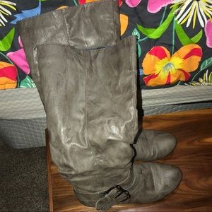 Shoes - Knee high silver boots with buckles